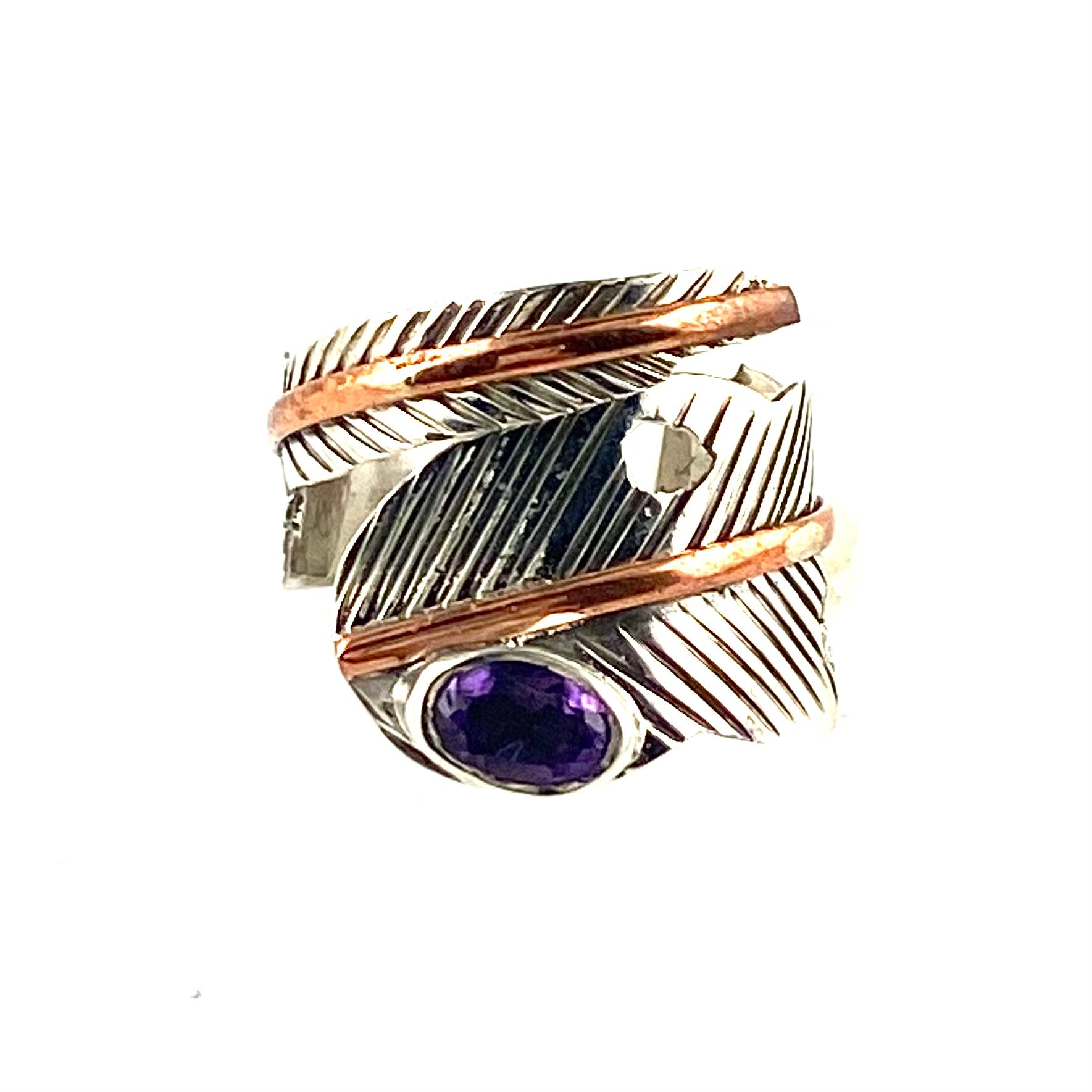 Amethyst Leaf Sterling Silver Adjustable Wrap Ring