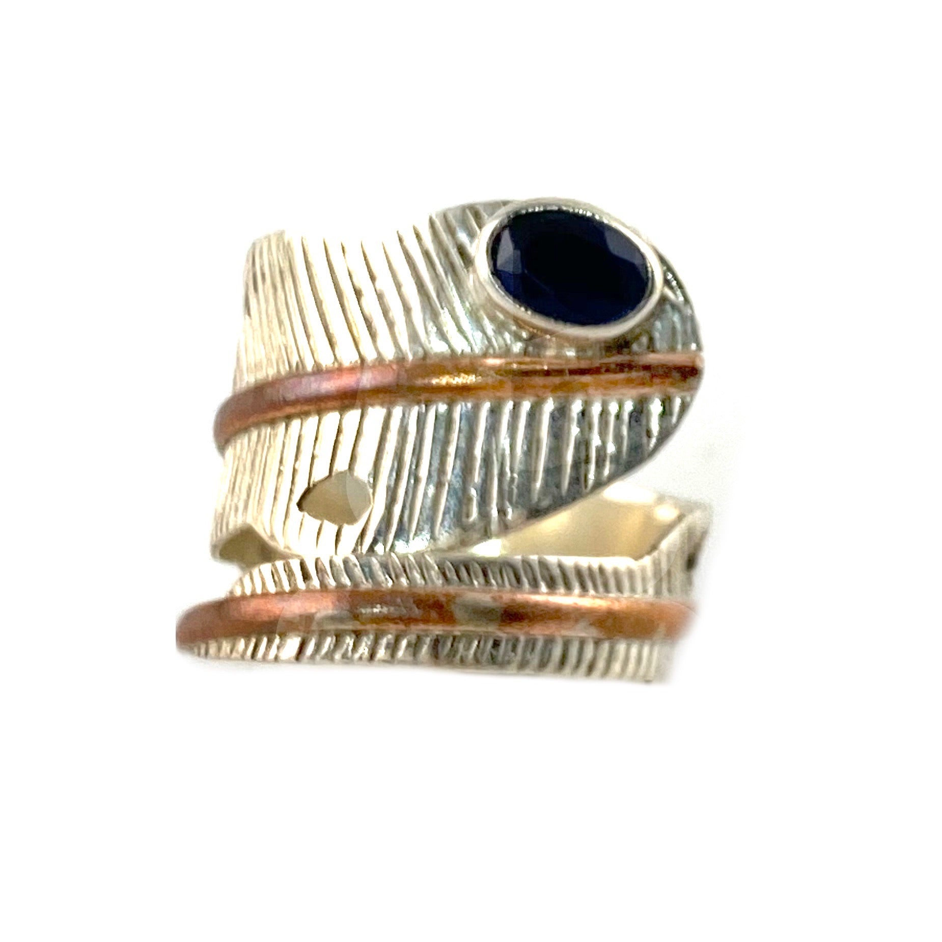Sapphire Sterling Silver Two Tone Adjustable Leaf Wrap Ring