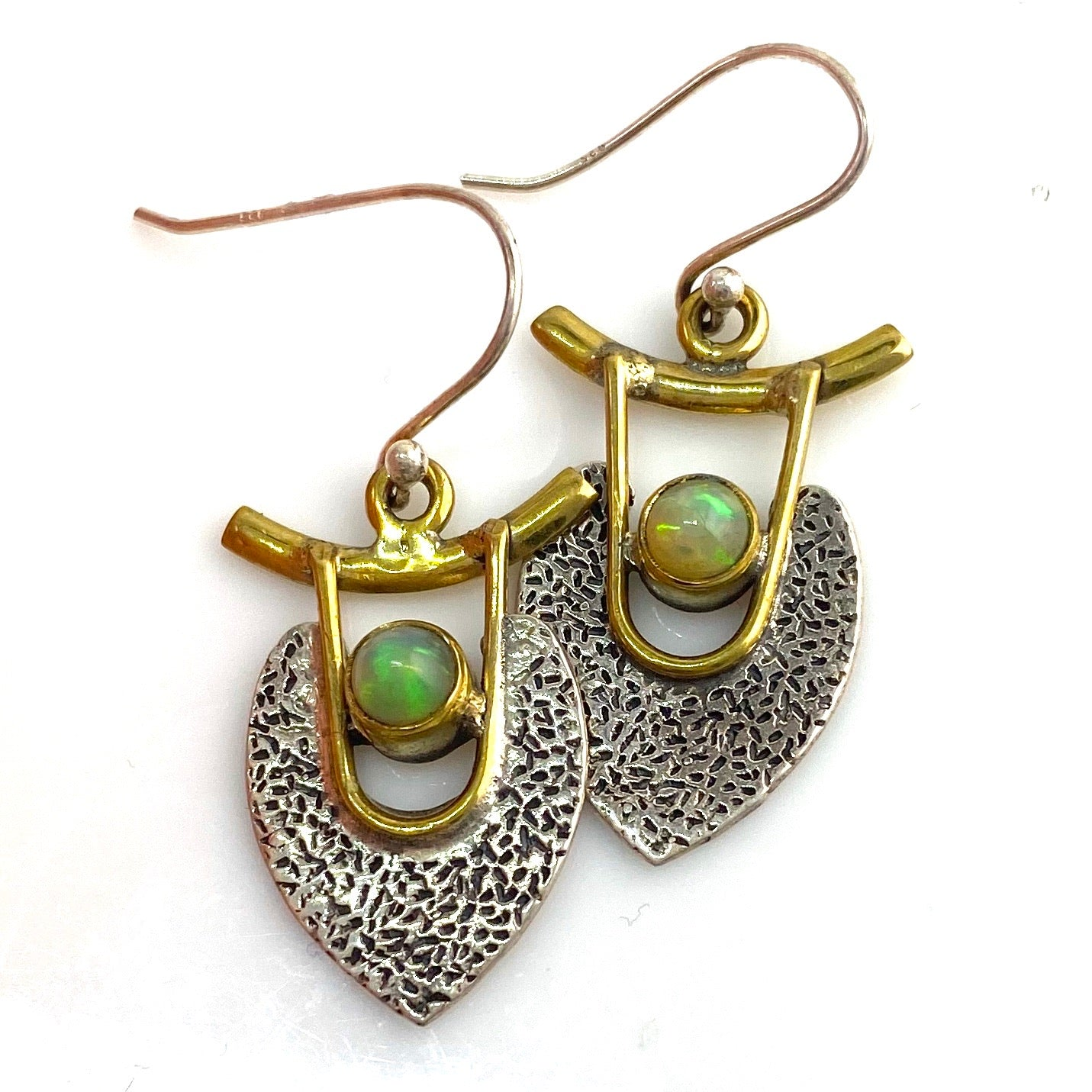 Ethiopian Opal Sterling Silver Two Tone Earrings - Keja Designs Jewelry
