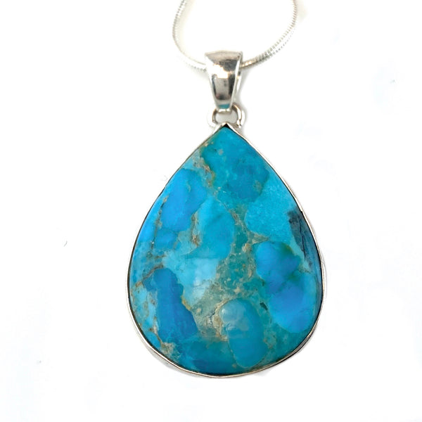 True Blue Turquoise Sterling Silver Pendant - Keja Designs Jewelry