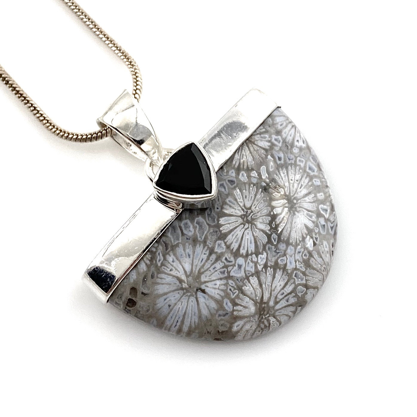 Fossilized Coral & Black Onyx Sterling Silver Pendant - Keja Designs Jewelry