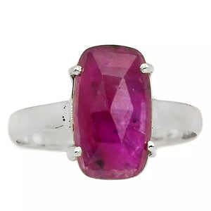 Fancy Cut Faceted Ruby Sterling Silver Ring - Keja Designs Jewelry