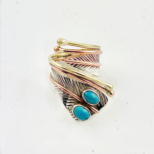 Turquoise Two Tone Sterling Silver Adjustable Leaf Wrap Ring - Keja Designs Jewelry