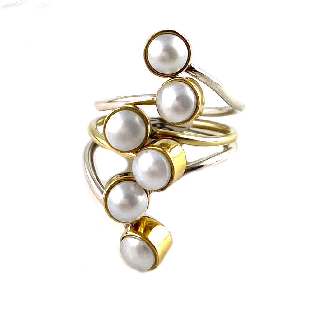 Pearl Two Tone Sterling Silver Adjustable Line Ring