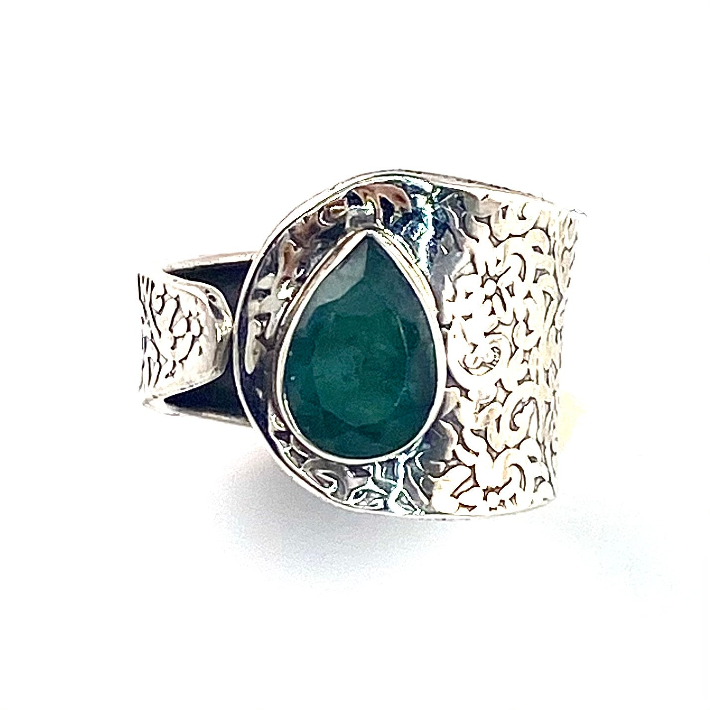 Emerald Sterling Silver Adjustable Textured Ring