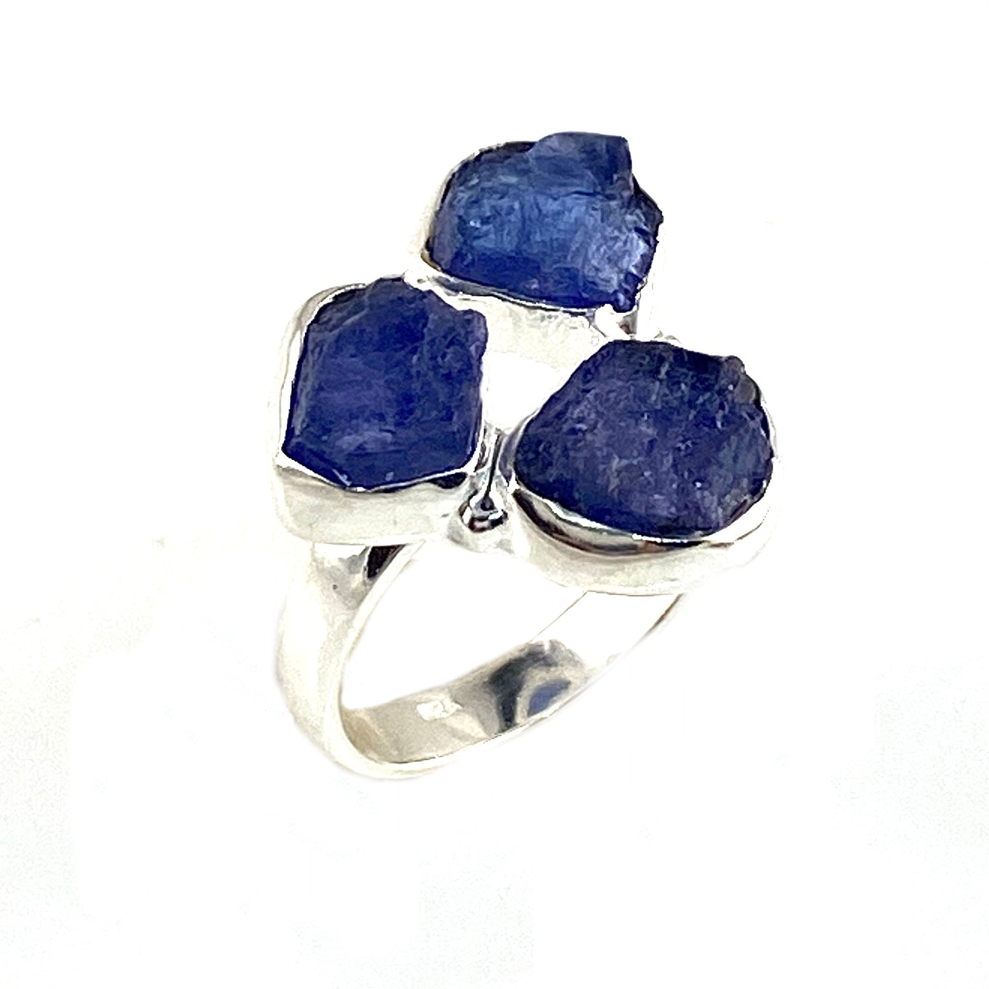 Tanzanite Rough Crystal Three Stone Sterling Silver Ring