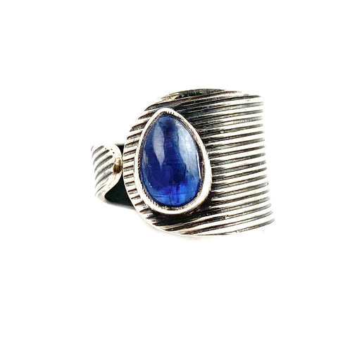 Kyanite Sterling Silver Adjustable Modern Ring - Keja Designs Jewelry