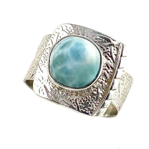 Larimar Sterling Silver  Adjustable Ring