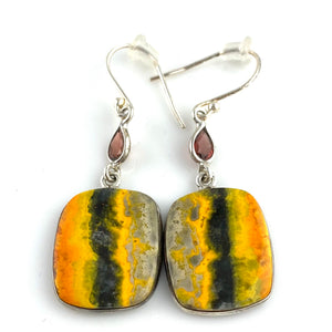 Bumble Bee Jasper & Garnet Sterling Silver Earrings - Keja Designs Jewelry