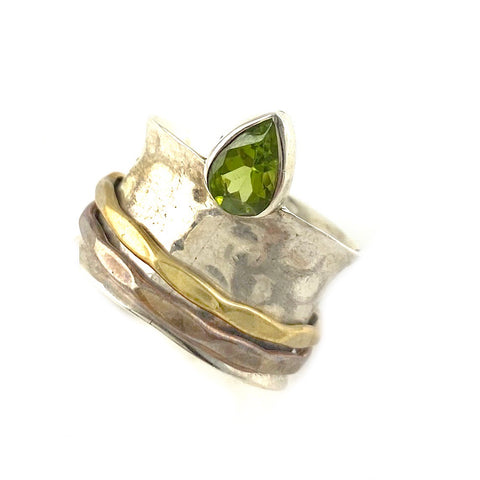 Spinner Ring - Three Tone Peridot