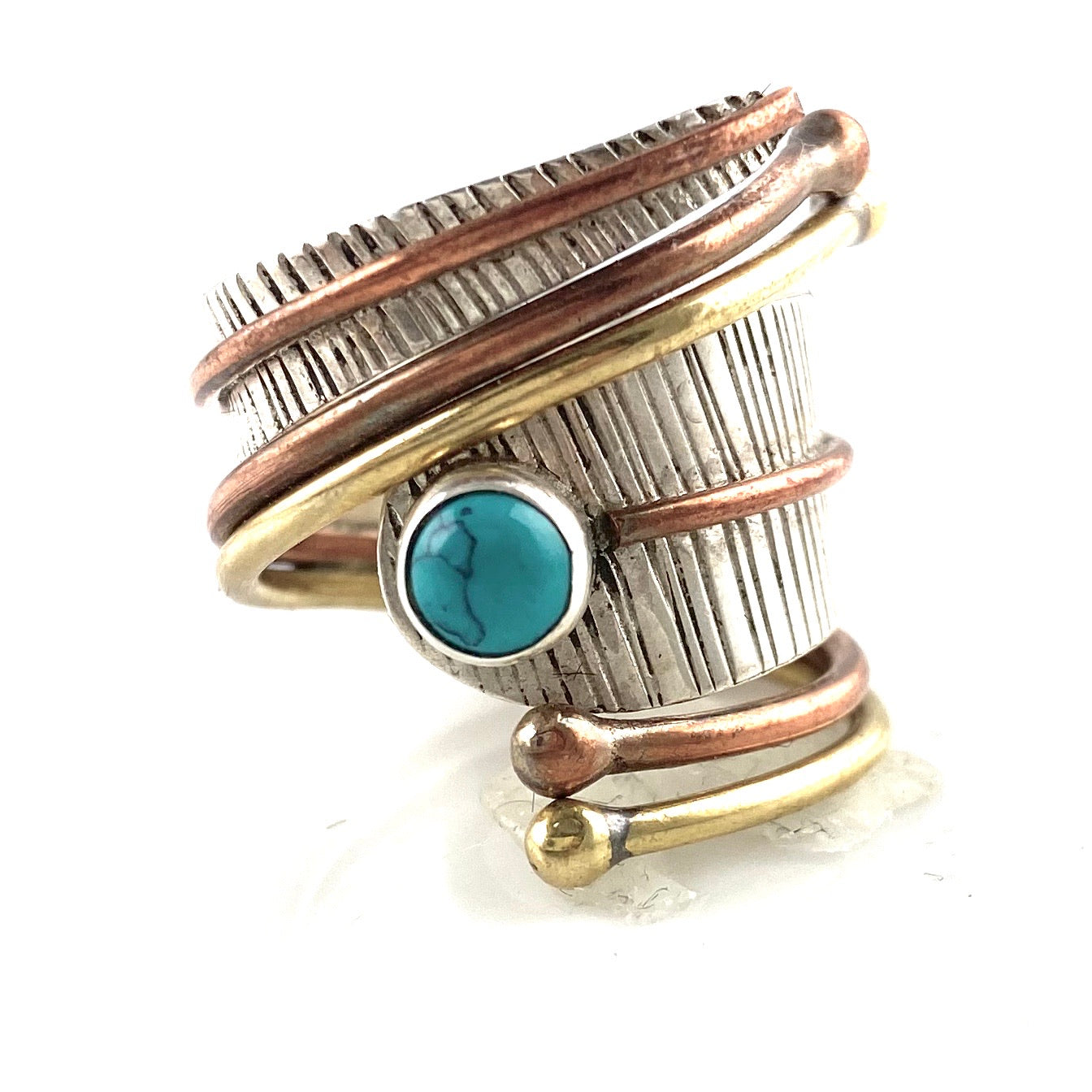 Blue Turquoise Three Tone Sterling Silver Adjustable Wrap Ring - Keja Designs Jewelry