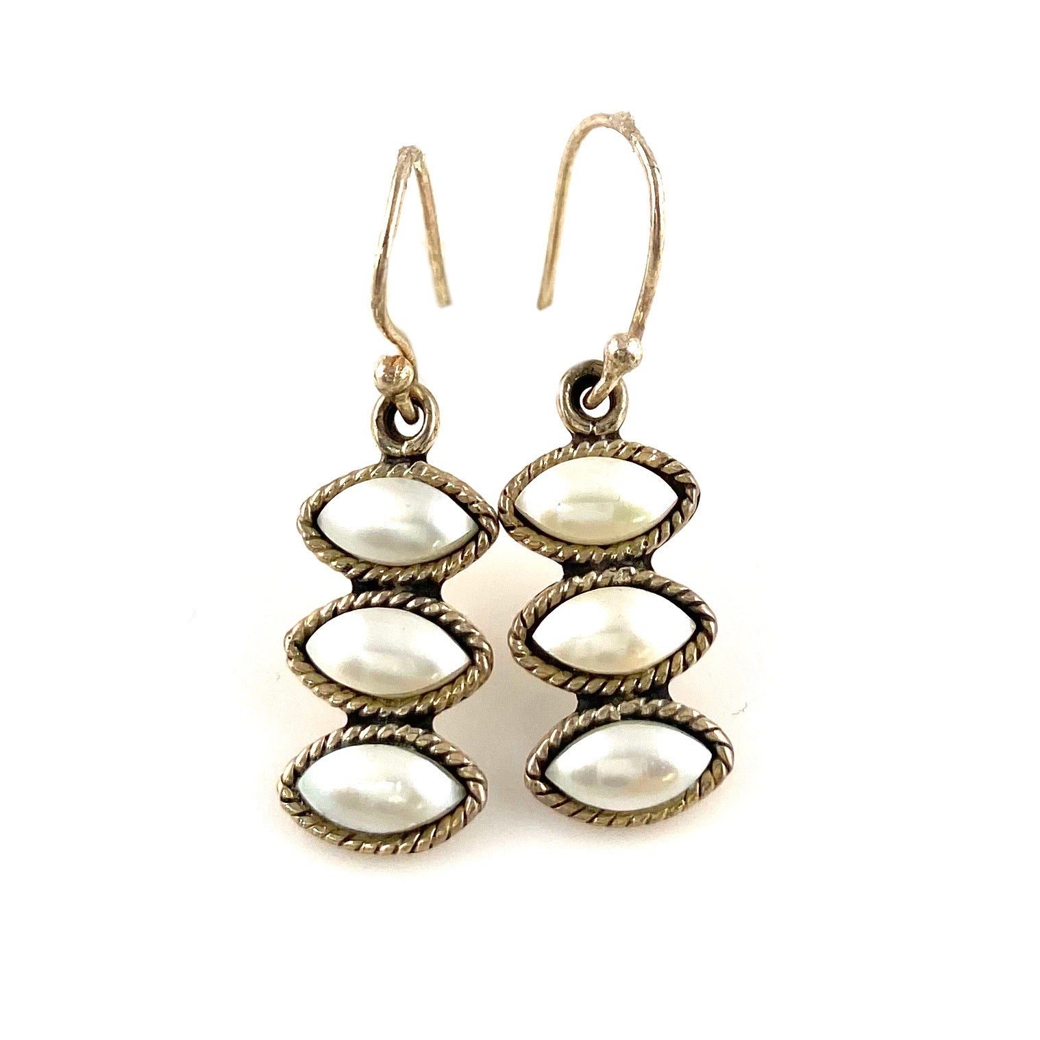 Pearl Sterling Silver Line Earrings