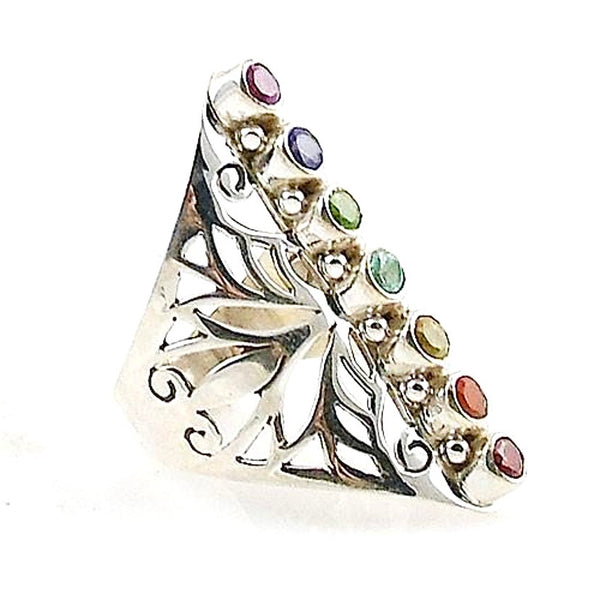 Chakra Multi-Stone Cut Out Sterling Silver Ring