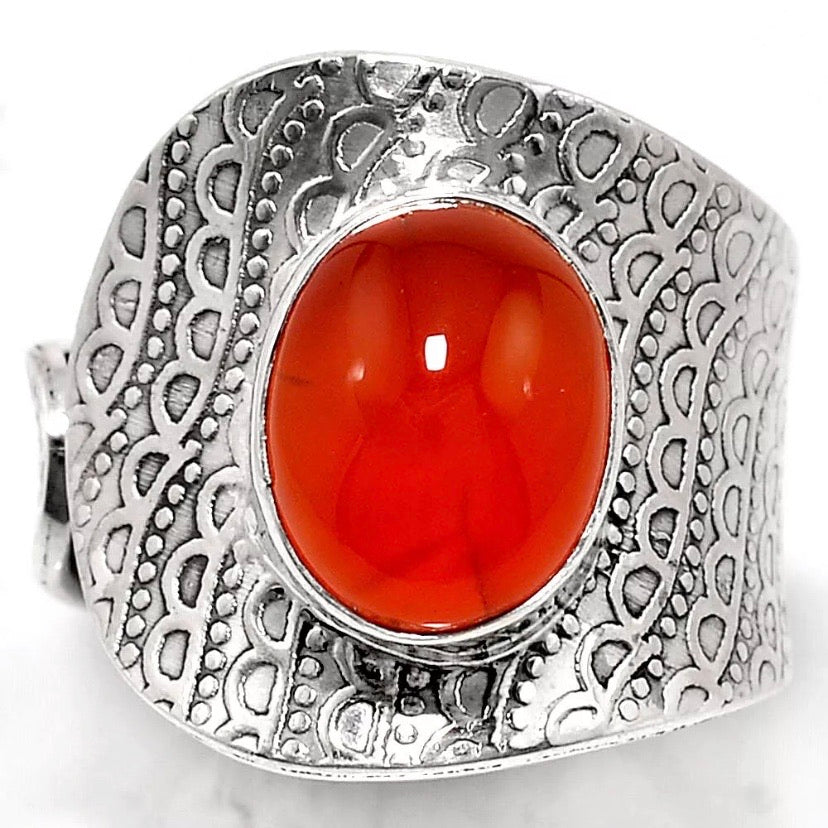 Carnelian Sterling Silver Adjustable Ring - Keja Designs Jewelry