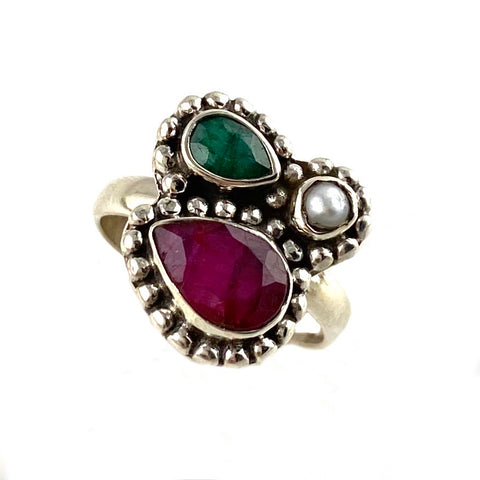 Pearl, Ruby & Emerald Sterling Silver  Ring - Keja Designs Jewelry
