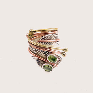 Peridot Two Stone Sterling Silver Adjustable Leaf Wrap Ring - Keja Designs Jewelry