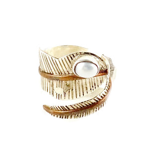 Pearl Sterling Silver Two Tone Adjustable Leaf Wrap Ring - Keja Designs Jewelry