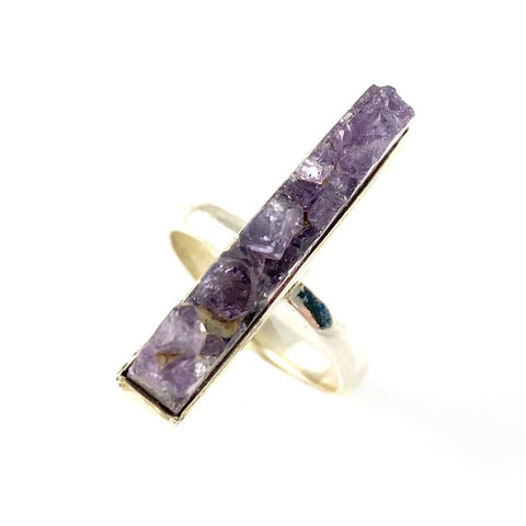 Amethyst crystal Rough Sterling Silver Ring