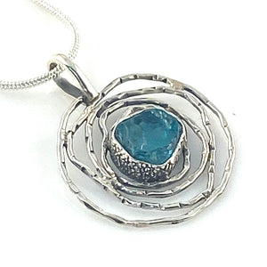 Neon Apatite Rough Sterling Silver Nest Pendant
