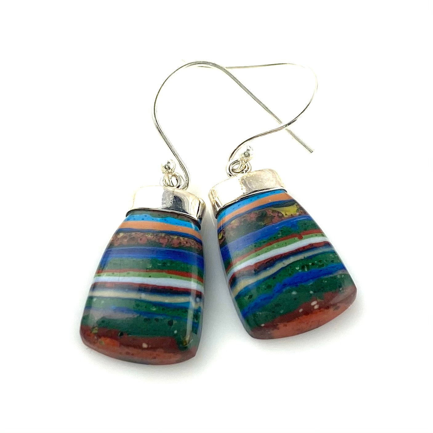 Rainbow Calsilica Sterling Silver Bell Shaped Earrings