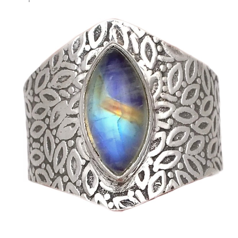 Moonstone Sterling Silver Vine Pattern Band Ring