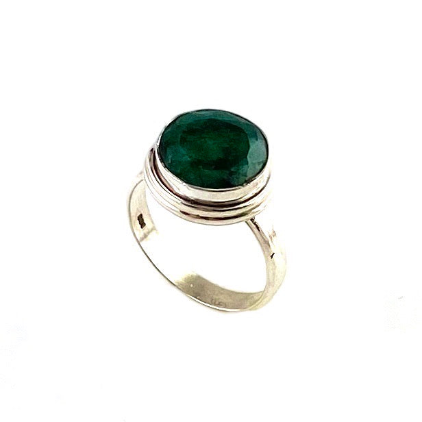 Emerald Sterling Silver Solitaire Ring - Keja Designs Jewelry