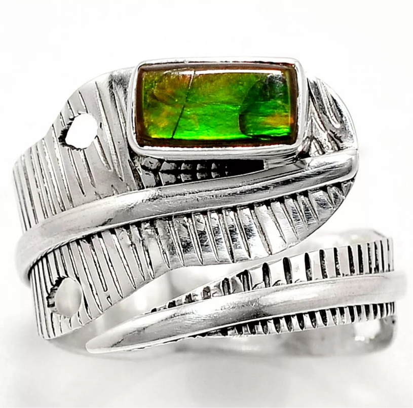 Ammolite Sterling Silver Adjustable Wrap Ring - Keja Designs Jewelry