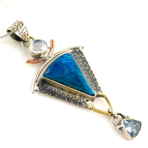 Neon Apatite & Blue Topaz Sterling Silver Three Tone Pendant - Keja Designs Jewelry