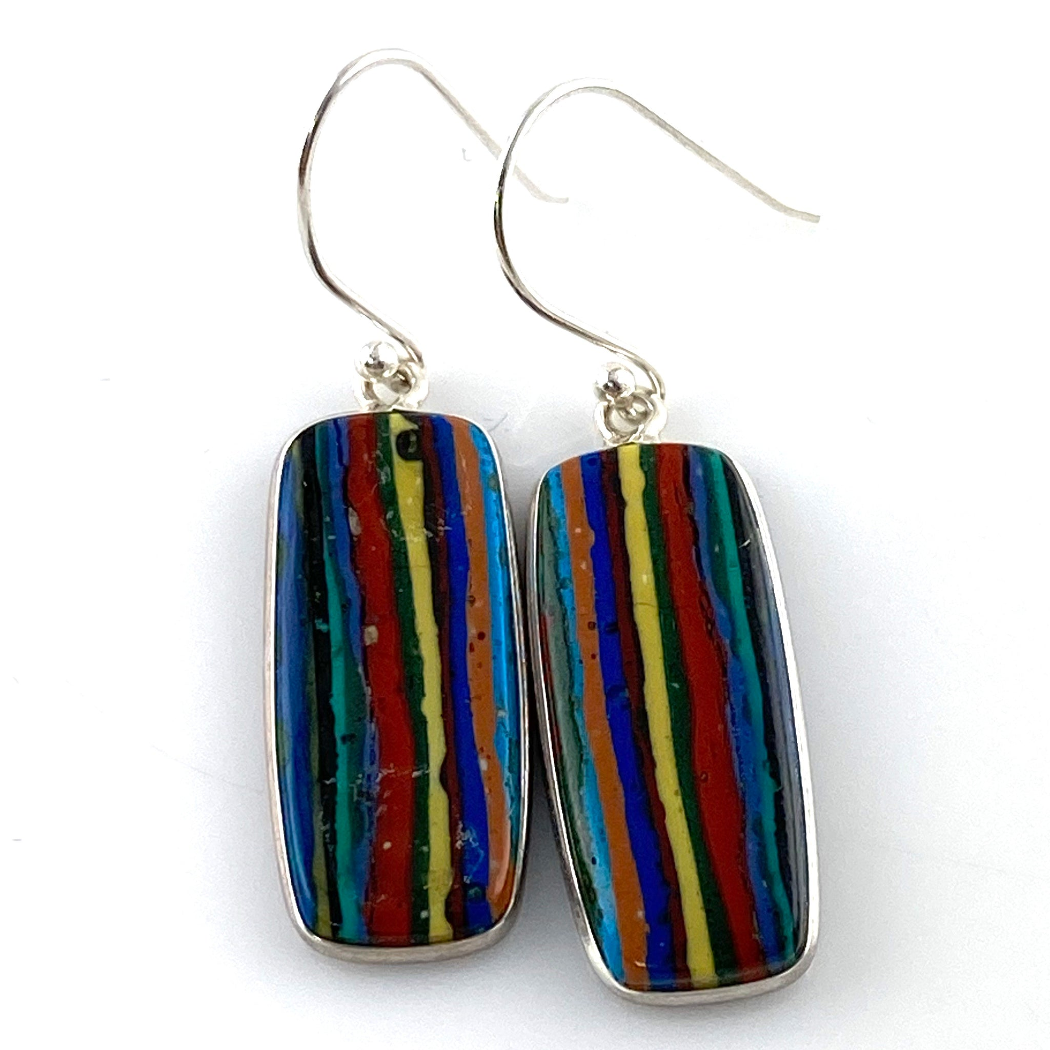 Rainbow Calsilica Sterling Silver Oblong Earrings