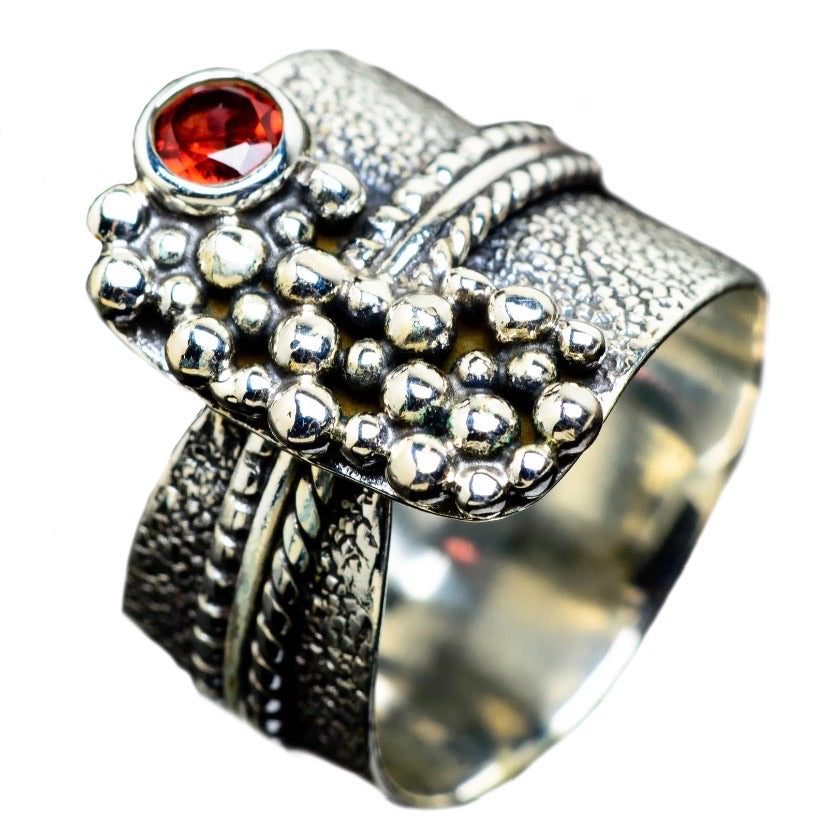 Garnet Two Tone Adjustable Sterling Silver Ring