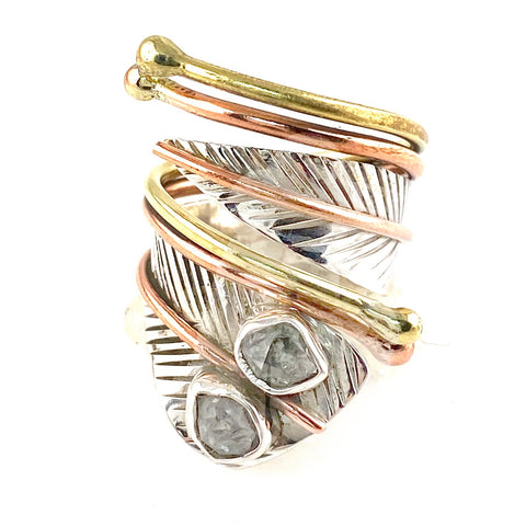 Herkimer Diamond Three Tone Sterling Silver Adjustable Wrap Ring - Keja Designs Jewelry