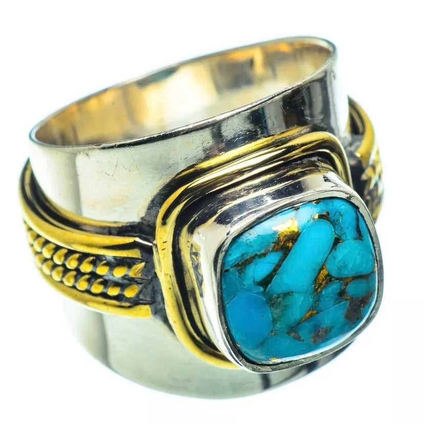 Turquoise Three Tone Sterling Silver Band Ring