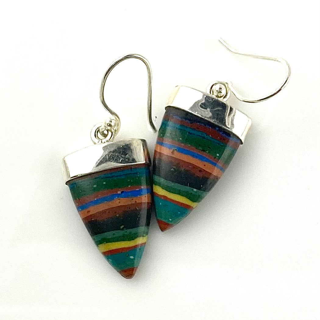 Rainbow Calsilica Sterling Silver Point Earrings