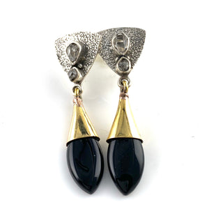 Black Onyx & Herkimer Diamond Sterling Silver Two Tone Earrings - Keja Designs Jewelry