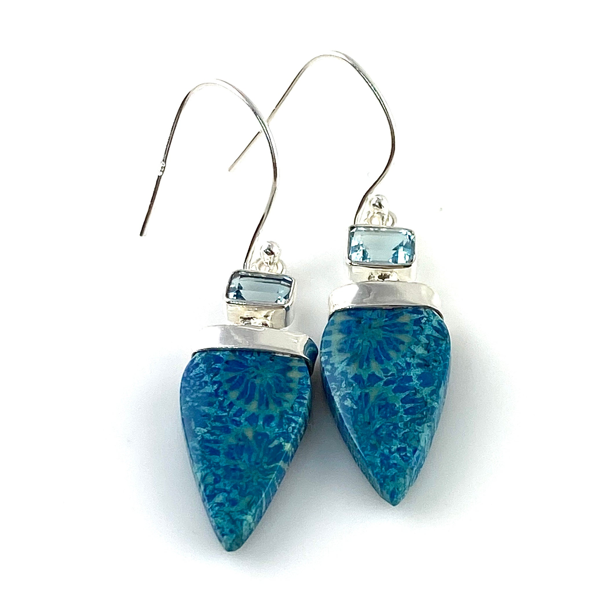 Blue Fossilized Coral & Blue Topaz Sterling Silver Point Earrings