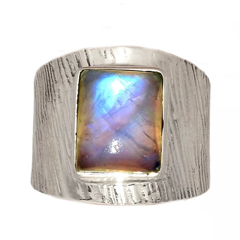 Moonstone Square Sterling Silver Textured Band Ring