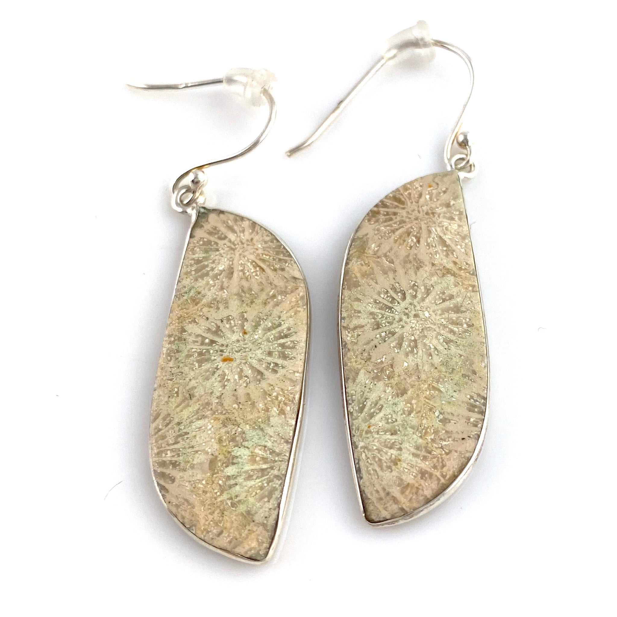 Fossilized Coral Sterling Silver Earrings - Keja Designs Jewelry
