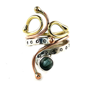 Seraphinite Three Tone Sterling Silver Adjustable Ring