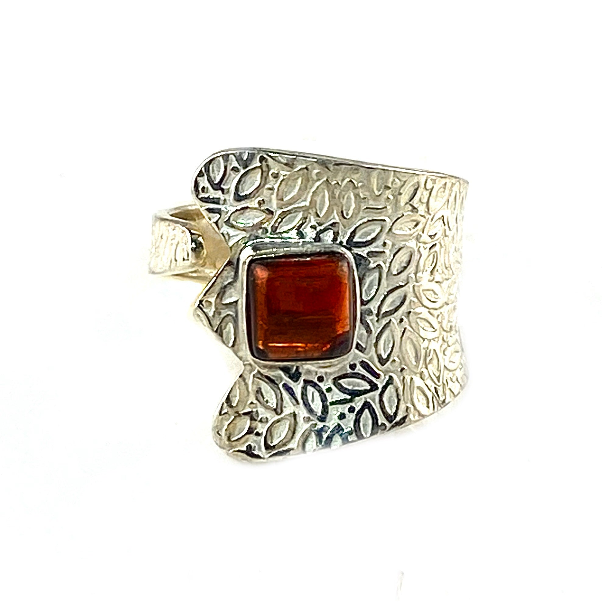Garnet Sterling Silver Adjustable Ring