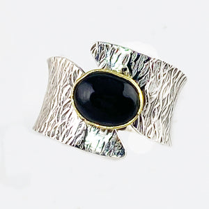 Black Onyx Two Tone Sterling Silver Bridge Ring