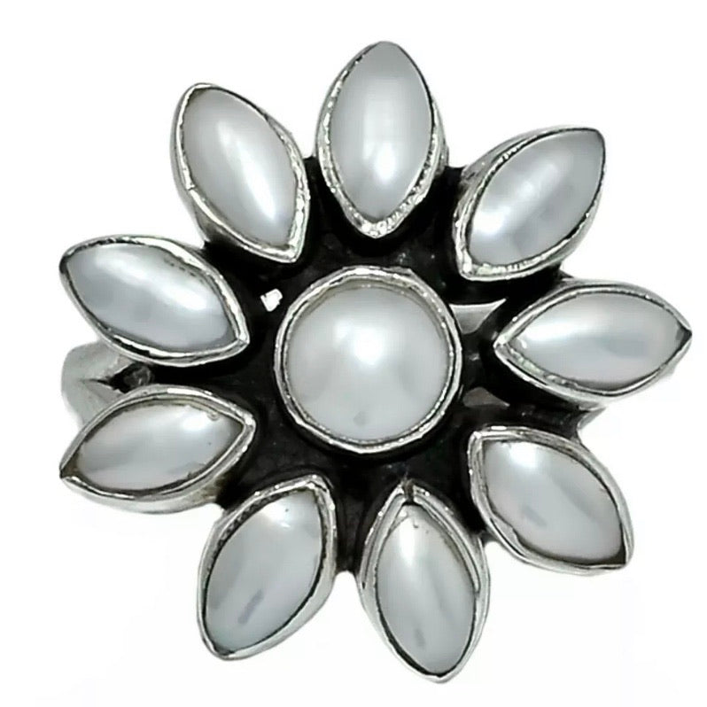 Pearl Flower Sterling Silver Ring - Keja Designs Jewelry