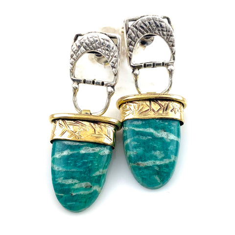 Amazonite Sterling Silver Two Tone Earrings - Keja Designs Jewelry