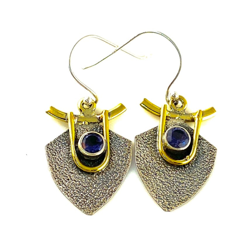 Iolite Sterling Silver Two Tone Earrings