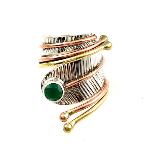 Green Onyx Three Tone Sterling Silver Adjustable Wrap Ring - Keja Designs Jewelry