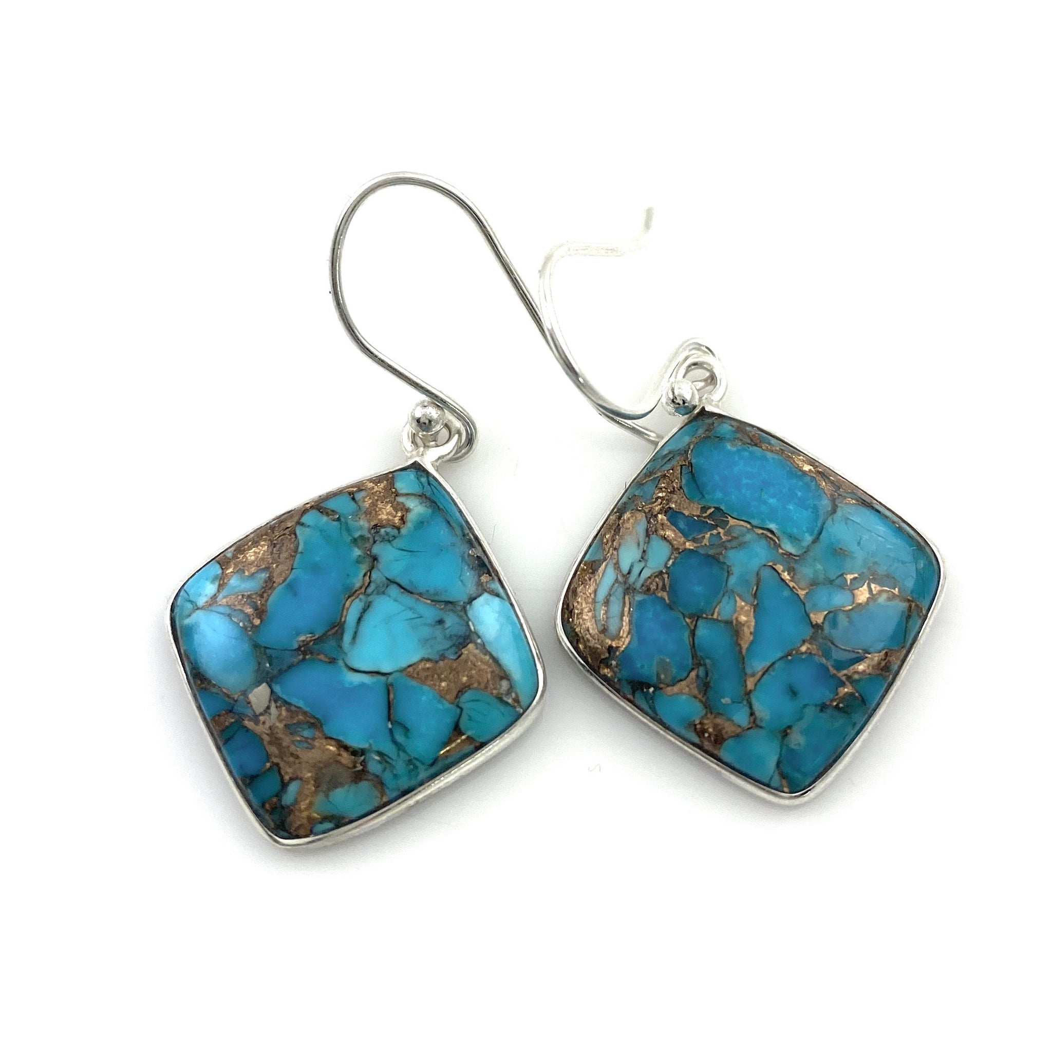 Copper Turquoise Sterling Silver Diamond Earrings - Keja Designs Jewelry