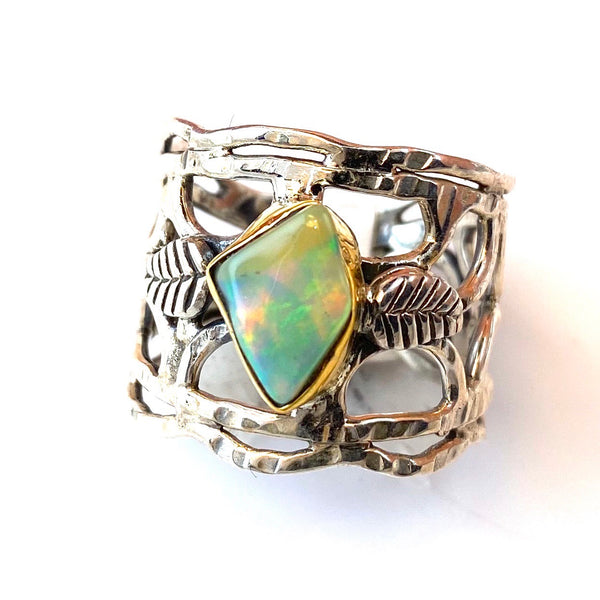 Ethiopian Opal Rough Two Tone Vine Sterling Silver Band Ring - Keja Designs Jewelry