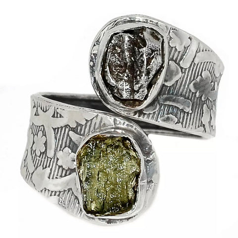 Campo de Cielo Meteorite & Moldavite Sterling Silver Adjustable Ring