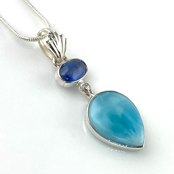 The Blues Larimar & Kyanite Sterling Silver Pendant