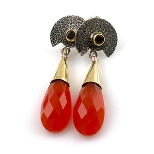 Garnet and Carnelian Sterling Silver Two Tone Earrings - Keja Designs Jewelry