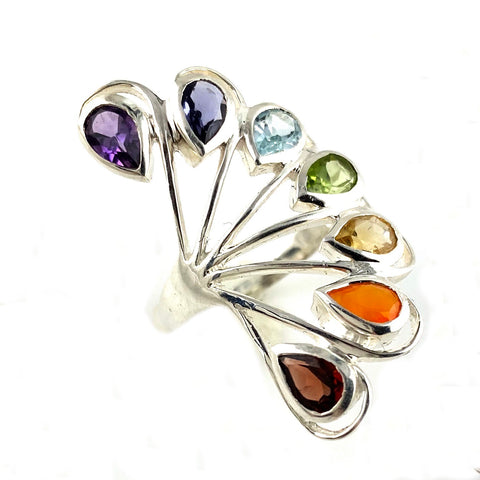 Multi-Gemstone Sterling Silver Peacock Ring - Keja Designs Jewelry